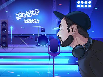 HipHop star cartoon creative design vector anime art comic character design anime post illustration
