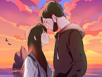 Love Beyond anime girl cartoon anime love vector anime art comic creative character design anime illustration