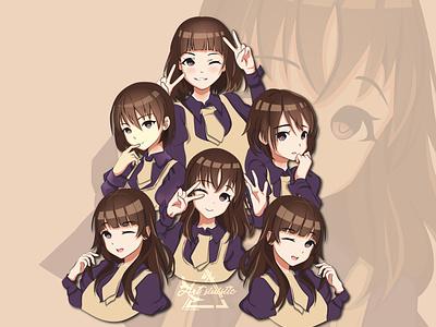 Anime character Expressions vector anime love anime girl anime art creative comic cartoon anime character design illustration