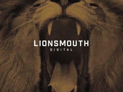 LionsMouth Digital - Hello Dribbble! debut hello lion logo digital web design texture gold black type ui typography