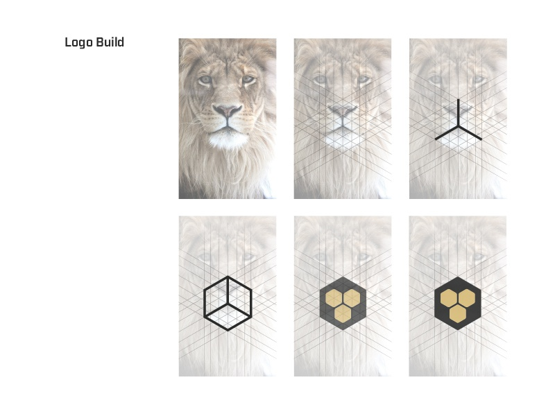 Our Logo - Process  logo brand build lion hex gold black geometric digital bold roar mouth