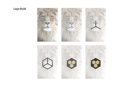 Our Logo - Process  logo brand build lion hex gold black geometric digital bold roar mouth