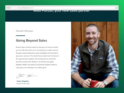 Founder Message  message letter intro sales ceo type