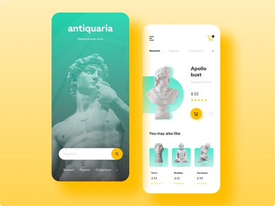 Antique Shop - Concept mobile app mobile shop interface antique ecommerce app web minimalistic design adobe xd application ux ui app design figma app