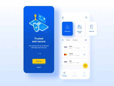 Security Manager - App concept blue and white blue password manager security adobe photoshop mobile app mobile web adobe xd minimalistic design figma adobe xd design ui ux app design app