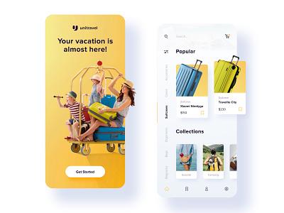 Travel Bags  - App concept travel white yellow ecommerce app app design mobile app mobile app web ux ui minimalistic figma design adobe xd adobe photoshop