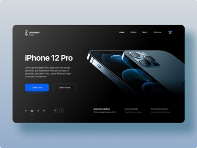 Pineapple Store - Concept blue black landing iphone 12 apple ecommerce web ux ui minimalistic figma design adobe xd adobe photoshop