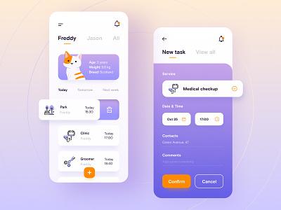 iPet - App concept cat pet white violet mobile app mobile web minimalistic figma app design app ux ui adobe xd