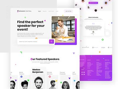 Speaker Central Webpage Redesign graphyy purple gradient purple creative website design web design web branding visual design ux uiux ui redesign website