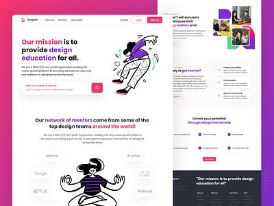 Designed Landing Page graphyy design illustration landing page ux ui branding