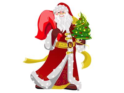 Дед Мороз мороз клаус санта елка подарки арт рисунок рождество праздники новый год иллюстрация вектор дедмороз дедмороз