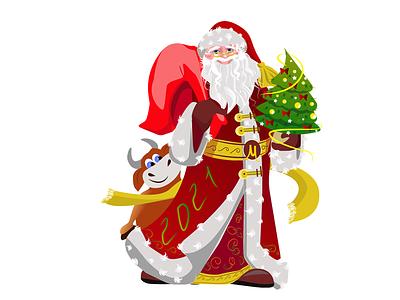 Дед мороз 2021 снег мешок с подарками еслка подарки сантаклаус символ года бык бычок елка рождество праздники зима санта дед мороз праздник 2021год новый год