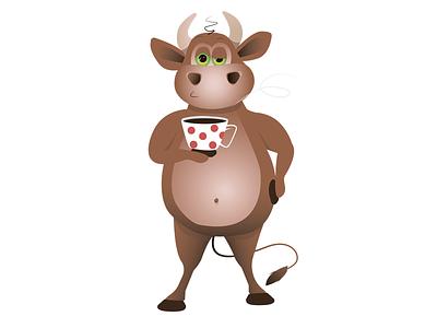 Бык утром пьет чай арт иллюстрация вектор мультгерой юмор праздники смех рождество пить чай кофе бычок символ года новый год бык