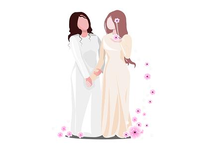 Подружка невесты люди цветы арт рисунок вектор мать сестра женщина радость праздник счастье красота платье свадьба невеста подружка невесты подружка девушки девушки
