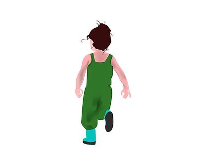 Ребенок штанишки зеленый волосы спина малыши счастье бежит детя малыш рисунок вечтор арт девочка дети