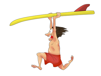 Серфинг радость счастье графика арт вектор юмор смех мужик хобби серфинг спорт