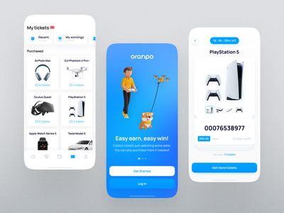 Oranpo. Lottery and free gifts mobile app prizes minimal cards layout design user expierence mobile trends inspiration ui trends mobile design filters gift lottery mobile inspiration navigation feed cards ux ui mobile app