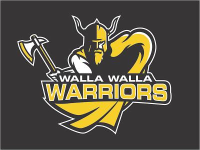 Warrior Logo helmet axe yellow walla walla viking wwcc warrior