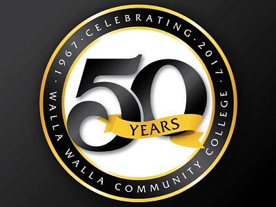 50th Anniversary Logo years walla walla celebration school college gold black logo 50