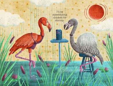 Flamingo Food Critic restaurant food flamingo funny digital painting animation design art animal illustration
