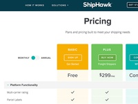 ShipHawk Interactive Pricing Table