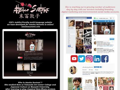 Atsuko Suetomi Project dark japan musician music branding events concert poster social media design responsive design web design japanese culture socialmedia japanese art koto japanese webdesign website webflow
