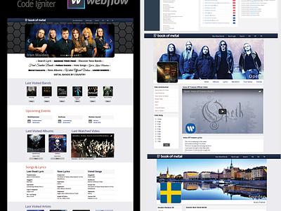 Book of Metal Project music album poster lyric concert music portal design website design admin panel codeigniter mysql webdesign webflow portal website rock and roll rock music rock metal music metal bookofmetal