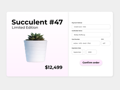 002 Credit Card Checkout 002 succulent checkout credit card dailyui