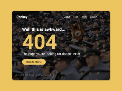 008 404 Page page 404 yellow police donkey 008 dailyui