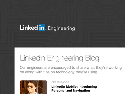 Linkedin Engineering pattern grey linkedin blog typography helvetica helvetica neue