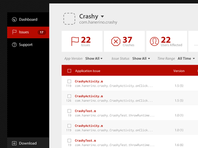Crashy Crash List table navigation icons myriad pro inconsolata