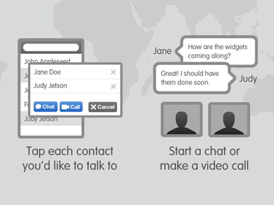 Start a chat or make a video call illustration chat world ipad ios