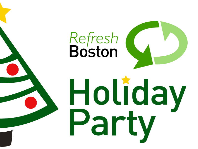 Refresh Boston Holiday Party sign christmas din gill sans