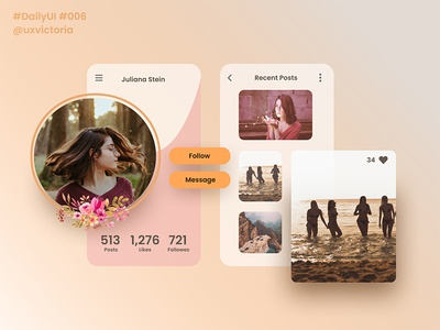 Daily UI :: 006 - User Profile mobiledesign user profile userinterface design ux ui minimal digital design daily ui concept clean 006