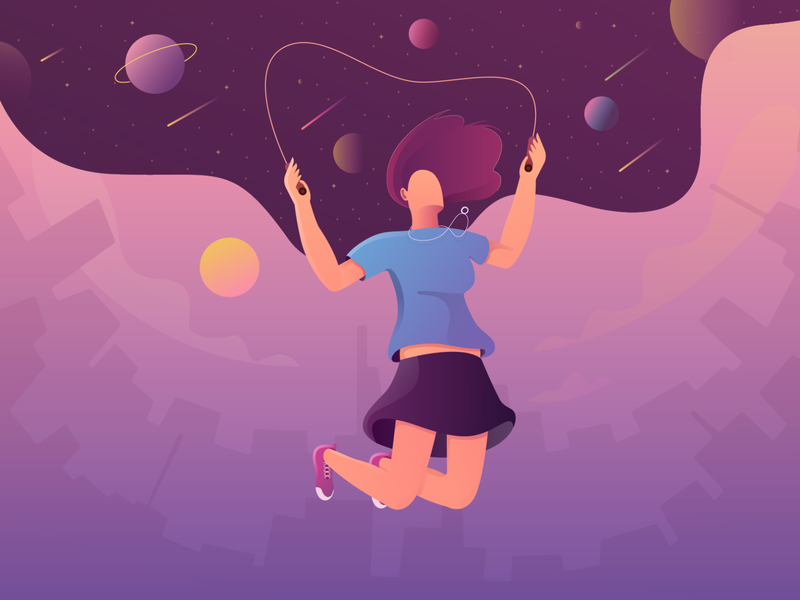 Fly High......... designlove dreams comets planets solar system clouds sky fly high fly lady vector design character design character illustration