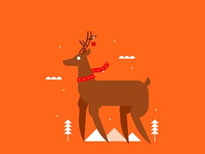 Santa's Reindeer gifts santaclaus december snow christmas reindeer illustration