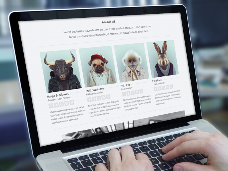 About Us minimal web flat nice mockup cool awesome clean animal haha jaye creadivs about page website theme wp nobility mac screen team