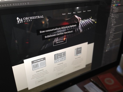 Orchestral Story - Website orchestra story composing engineering sound music note website design clean dark icons