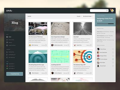 Articles UI minimal clean design web app ui blog articles profile backend users