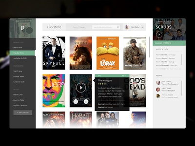 Flickstore UI flick video movie ui design clean modern profile thumbnail watching store