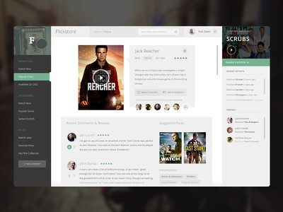 Flickstore UI - Single Page flickstore ui design web app clean modern flat netflix movies watch color