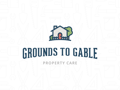 Grounds to Gable line art house gable grounds building property care identity branding logo
