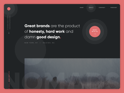 Agency Home Page Design elements circle clean modern red orange ux ui dark studio agency design