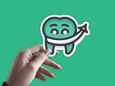 Sticker Shot logo brand design marketing arrow supertooth happy grin smile tooth dentist
