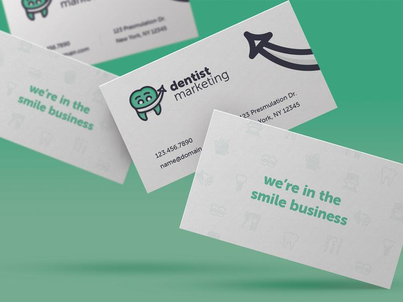 Biz Card Shot arrow tooth clean modern green graphic print business cards design grin smile marketing dental dentist