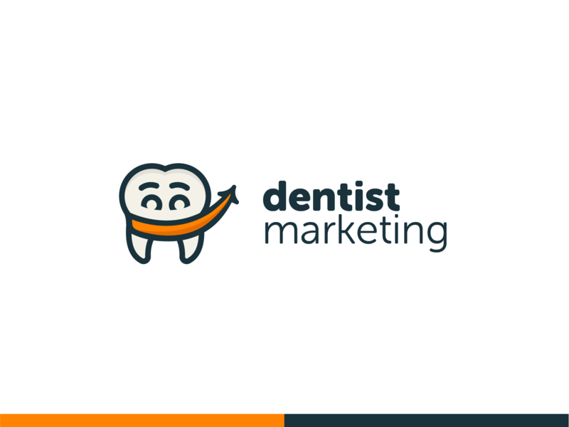Dental Marketing Logo new orange arrow grin smile tooth clean marketing ortho denstist brand design logo branding