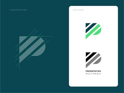 Unused P Concept design branding construction blue green professional modern clean mark brand logo