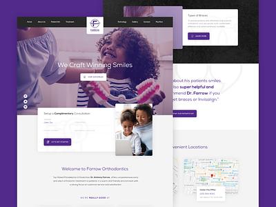 Farrow Ortho Redesign dental ortho grin happy smile images light dark purple modern ux ui clean web website redesign