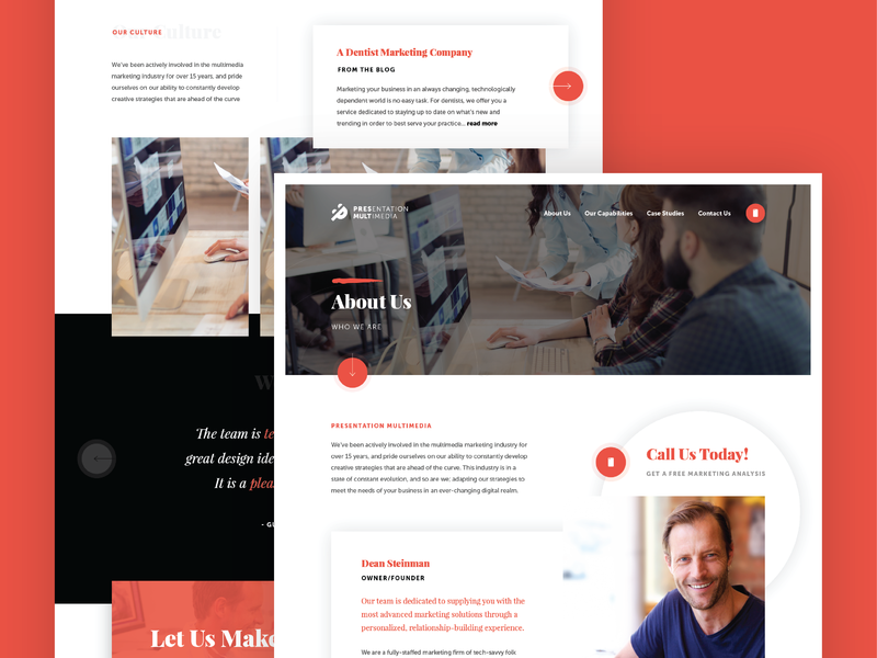 About Page - Layout redesign presentationmultimedia pm smile mockup website ui modern web clean minimal design