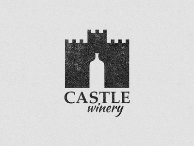 Castle Winery castle winery white space cool old distressed texture c fortress building burke alcohol grape logo brand identity bold